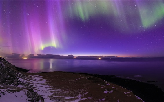 Wallpaper Iceland, Northern lights, sea, coast, night