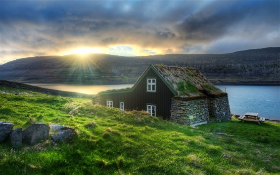 Wallpaper Iceland, hut, grass, coast, sea, sun rays