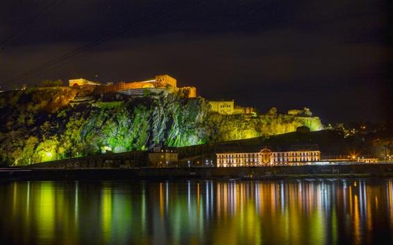 Wallpaper Koblenz, Germany, lights, night, river, houses