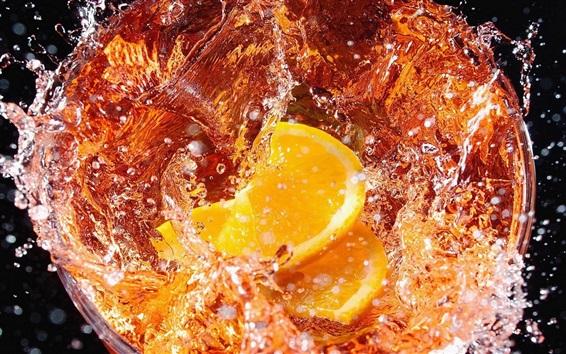 Wallpaper Lemon drinks, water splash