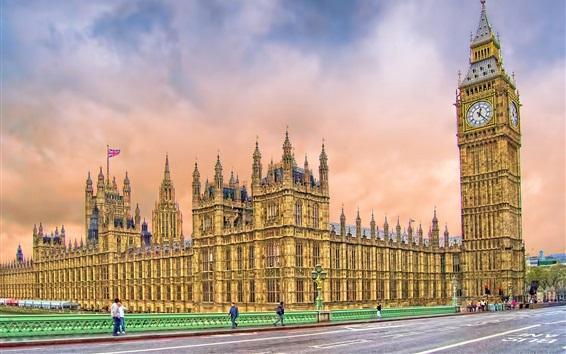 Wallpaper London, Big Ben, tower, street, houses, UK