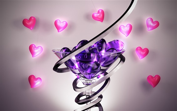 Wallpaper Love hearts, glass cup, abstract 3D