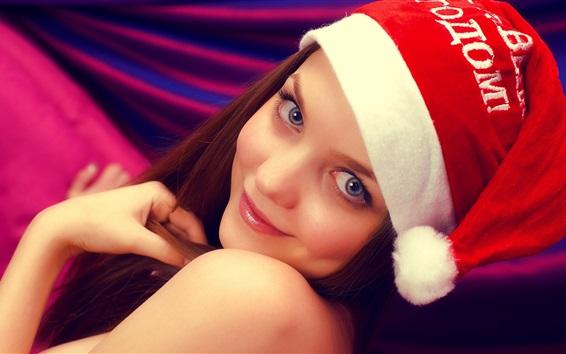 Wallpaper Lovely smile girl, hat