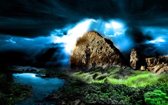 배경 화면 산, 잔디, 구름, 강, 황혼, 창조적 인 디자인