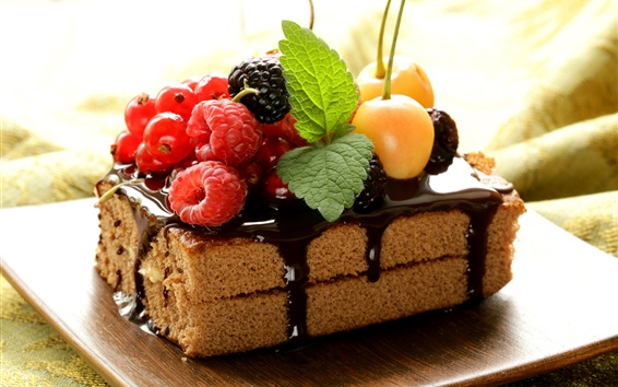 Wallpaper One piece chocolate cake, berries, fruit