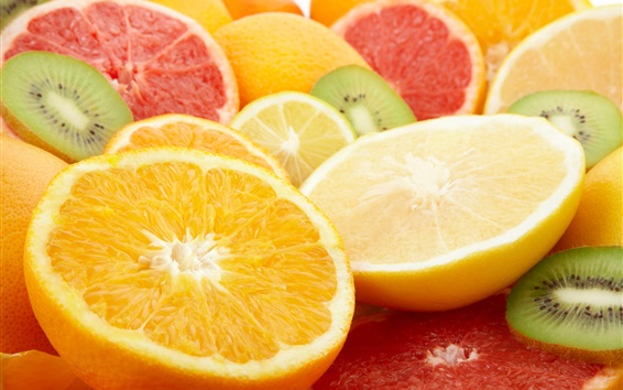 Wallpaper Oranges, lemons, grapefruits, kiwi, fruits slice