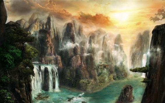 Fond d'écran Peinture, nature, cascades, falaises, brouillard, nuages, coucher de soleil
