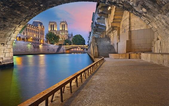 Wallpaper Paris, France, river, bridge, arch, buildings, lights, dusk