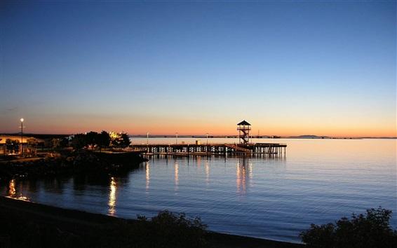 Wallpaper Pier, houses, sea, coast, dusk, sunset