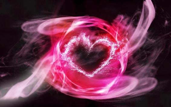 Wallpaper Pink smoke, love heart, abstract