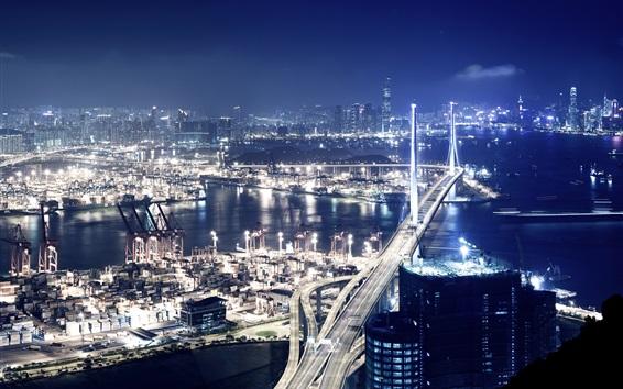 Wallpaper Port at night, Hong Kong, bridge, lights, skyscrapers