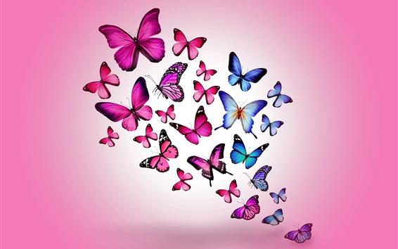 Papéis de Parede Borboletas roxas e azuis