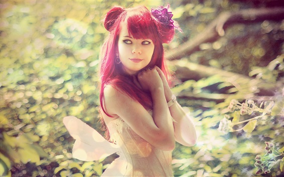 Wallpaper Red haired girl, makeup, wings, grass, nature