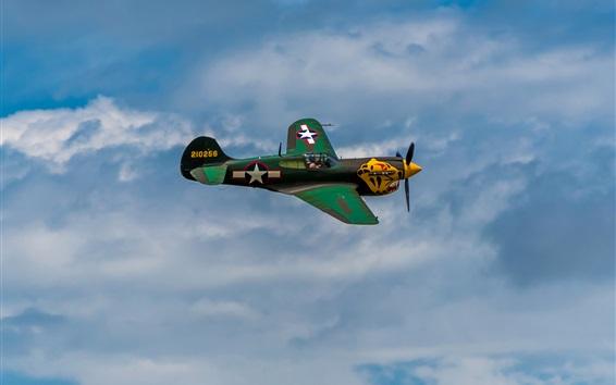Wallpaper Retro style fighter, sky, flight