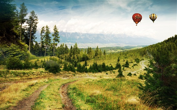 Wallpaper Road, grass, trees, mountains, clouds, hot air balloons