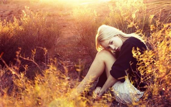 Wallpaper Sadness blonde girl, sit, grass, sunset
