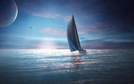 Wallpaper Sailing, moon, birds, sea