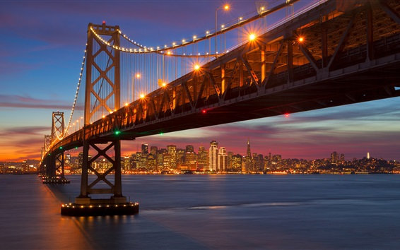 Wallpaper San Francisco, California, bridge, sea, illumination, night, USA