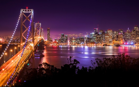 Fond d'écran San Francisco, pont, rivière, gratte-ciel, lumières, États-Unis
