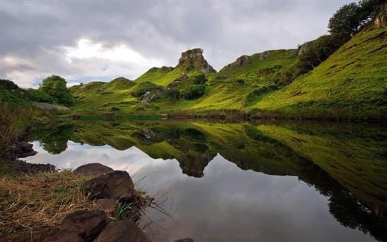 Wallpaper Scotland nature landscape, green, lake, grass, clouds
