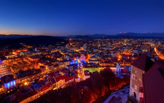 Fond d'écran Slovénie, ville, soir, lumières, noël
