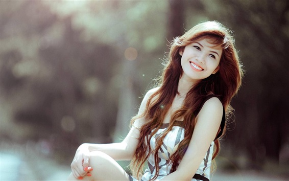 Wallpaper Smile Asian girl, curly hair