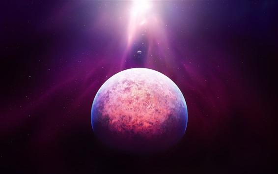 Wallpaper Space, planet, stars, purple light