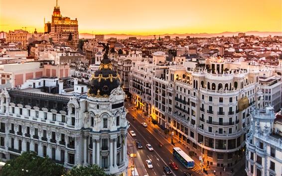 壁紙 スペイン、マドリッド、建物、道路、街の夜、ライト
