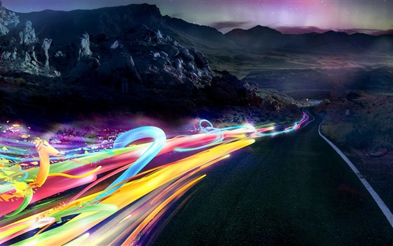 Wallpaper Speed, road, abstract ribbons lights