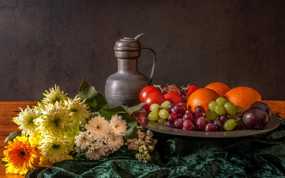 Wallpaper Still life, flowers, fruit, grapes, oranges, tomatoes