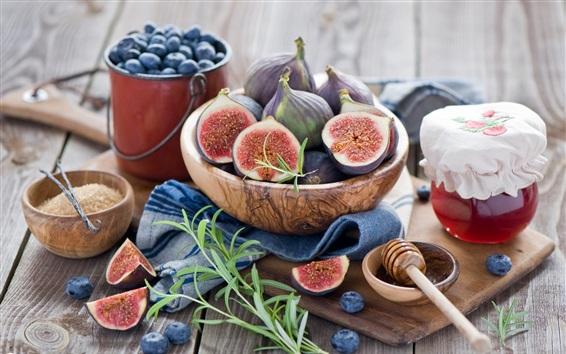 Обои Натюрморт, фрукты, инжир, клюква, мед