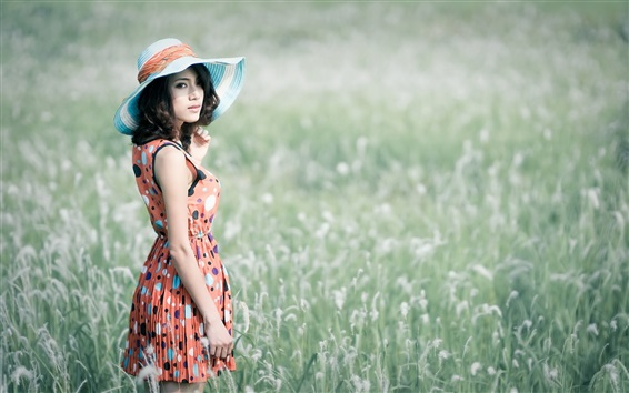 Wallpaper Summer, Asian girl, hat, grass