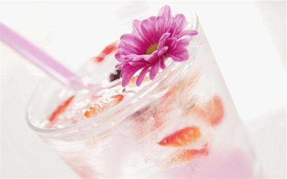 Fondos de pantalla Bebidas de verano, cóctel, hielo, flor, taza de vidrio