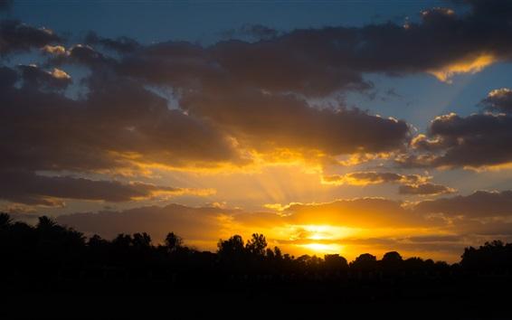Fond d'écran Coucher de soleil, crépuscule, nuages, ciel