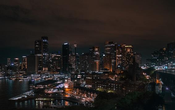 Fondos de pantalla Sydney ciudad por la noche, rascacielos, luces