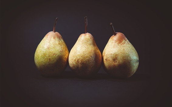 Wallpaper Three pears, black background