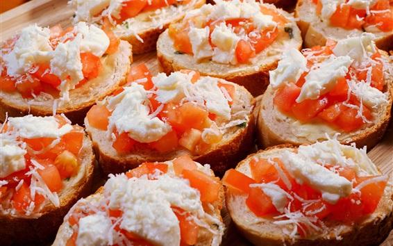 Fond d'écran Tomates, crème, pain, nourriture