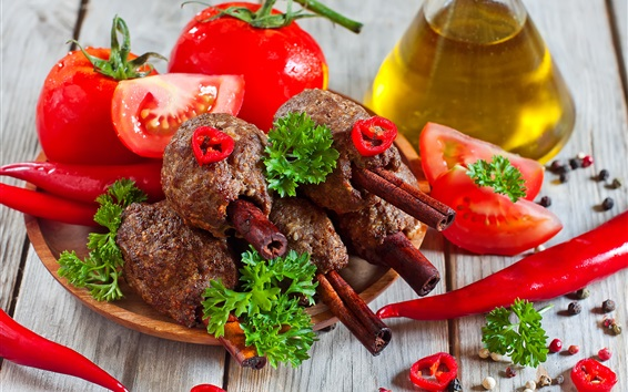 Wallpaper Tomatoes, peppers, meat, BBQ, oil