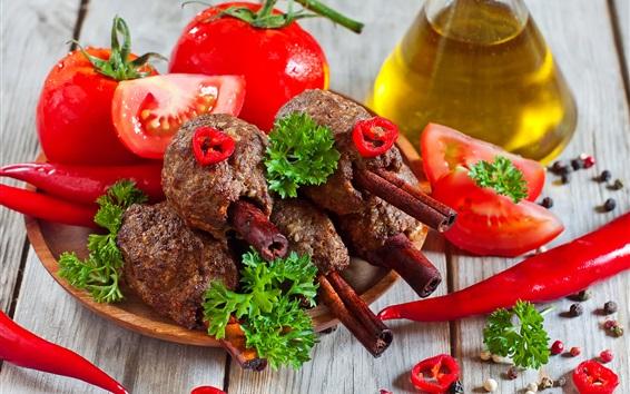 Papéis de Parede Tomate, pimentão, carne, churrasco, óleo