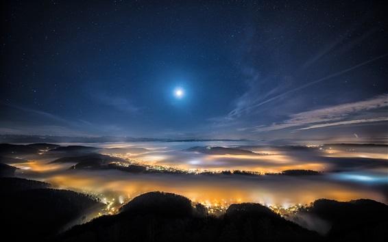 Fond d'écran Vue de dessus la nuit, les lumières, les montagnes, le ciel, la lune