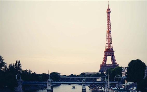 Wallpaper Travel to Paris, Eiffel Tower, France, city, bridge, river