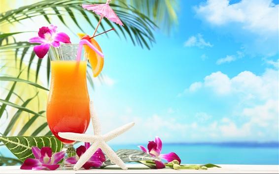 Wallpaper Tropical drinks, fruit juice, flowers, glass cup