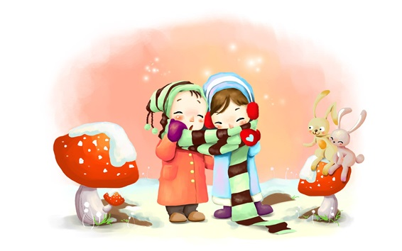 Wallpaper Two little girls in winter, coat, scarf, rabbits, art drawing