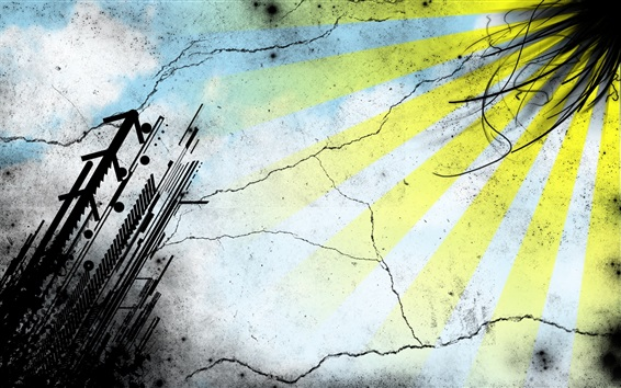 Hintergrundbilder Vektor Zeichnung, Grafiken, Sonnenstrahlen, Wand, abstrakt