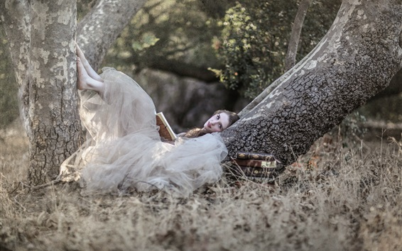 Wallpaper White dress girl read book in the nature