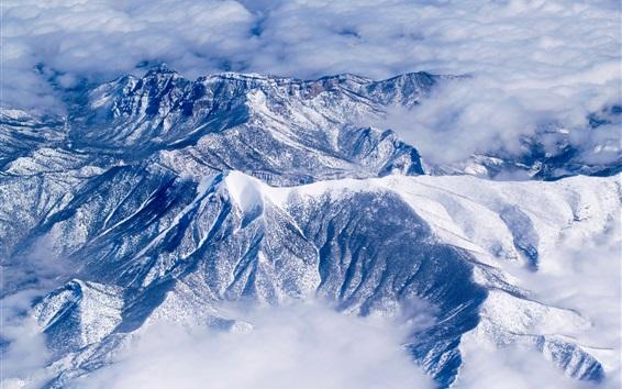 Fond d'écran Hiver, neige, montagne, nuages