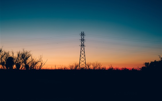 Wallpaper Wires, power lines, tower, evening, sunset