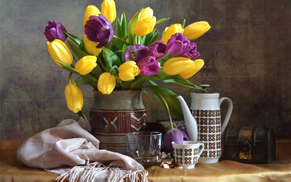 Wallpaper Yellow and purple tulips, vase, cup, still life