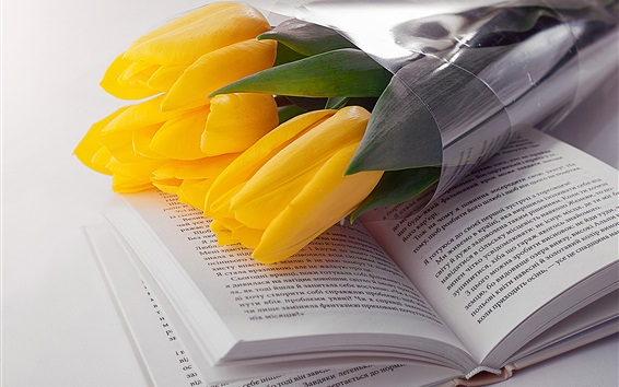 Wallpaper Yellow tulip and book