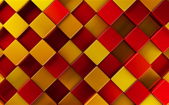 Wallpaper 3D squares, red, yellow, brown